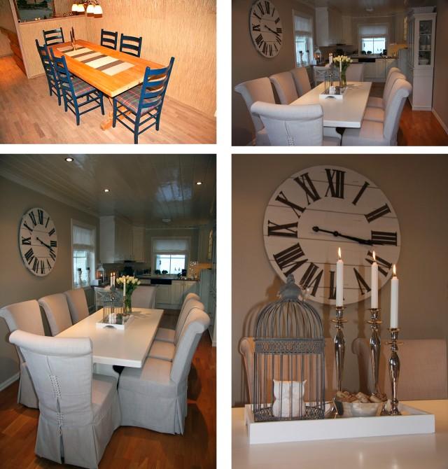 Spisebordet før og etter