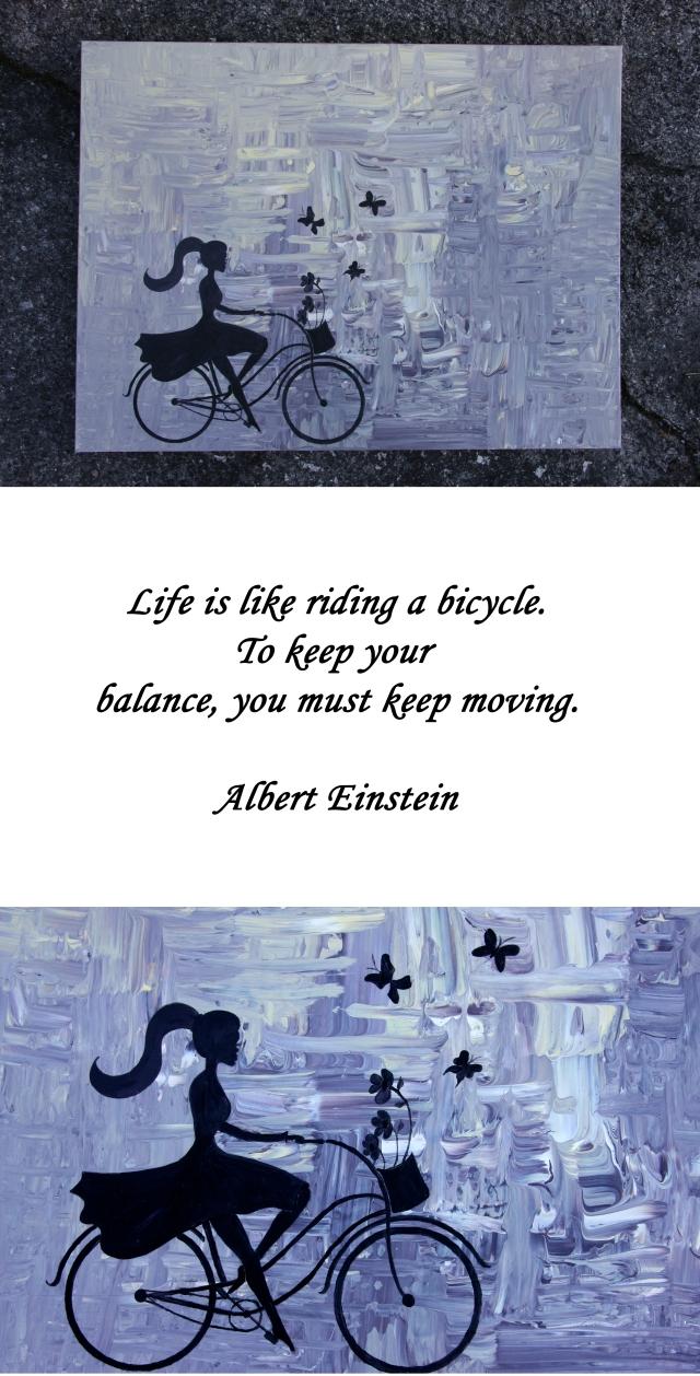 Maleri med sykkeljente