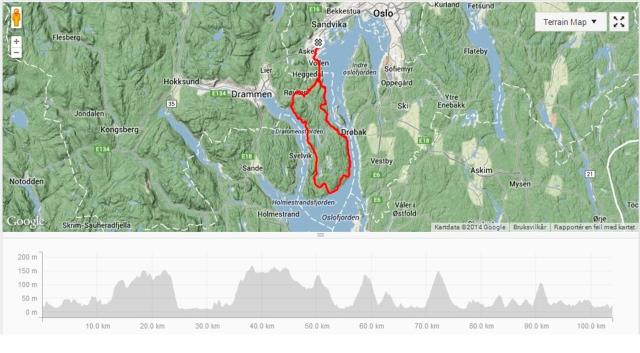Kart fra dagens tur