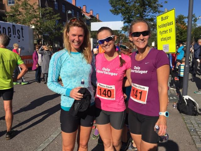 Charlotte Kunz, Silje Dahlsrud og Trude Wermskog Stormo etter målgang på Montebelloløpet