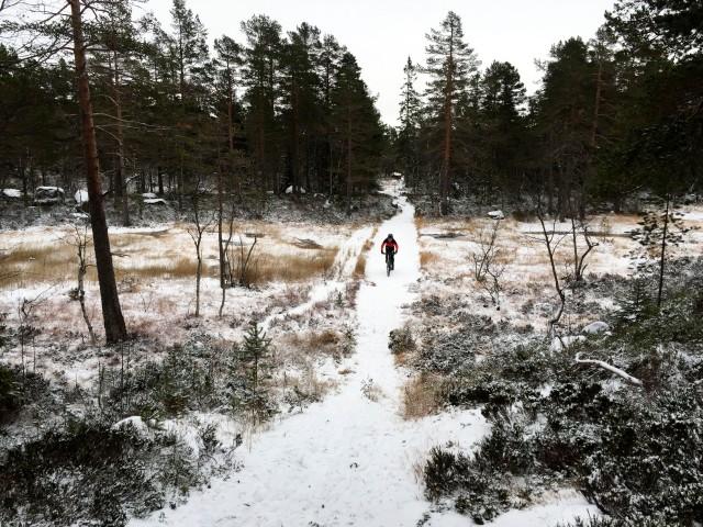 Vintersykling med piggdekk i Drammensmarka i november