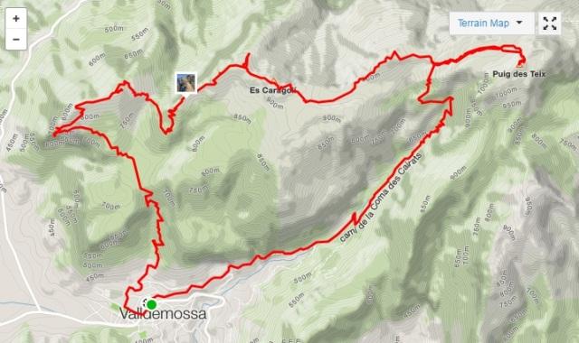 Kart løpetur fra Valldemossa på Mallorca