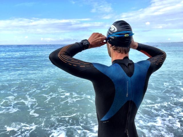Lars Petter svømmetrening før ironman Nice