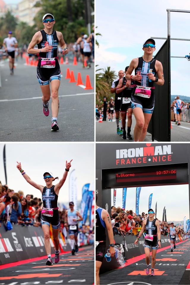Trude løp og målgang ironman Nice 2016