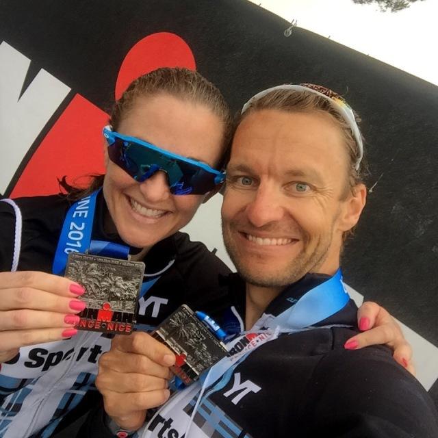 Trude og Lars Petter etter målgang ironman Nice