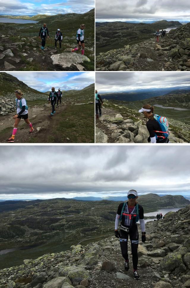 Trude Stormo på vei opp fjellet med teamet Norseman